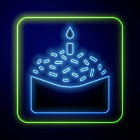 Glowing neon Easter cake and candle icon isolated on blue background. Happy Easter. Vector Illustration Çizim