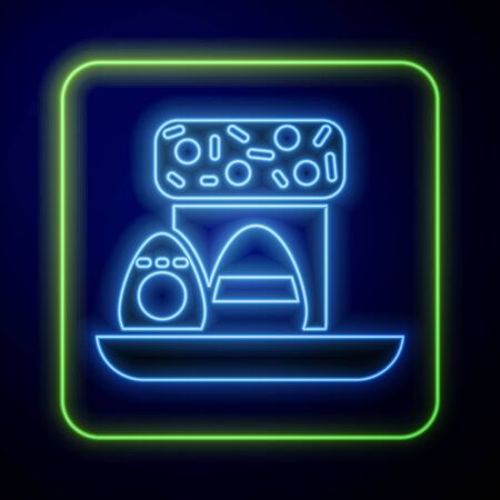 Glowing neon Easter cake and eggs icon isolated on blue background. Happy Easter. Vector Illustration Çizim