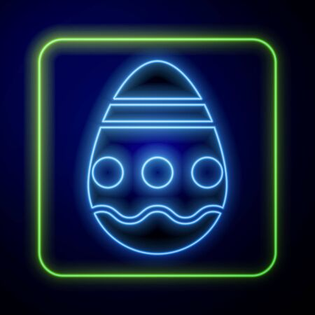Glowing neon Easter egg icon isolated on blue background. Happy Easter. Vector Illustration Çizim