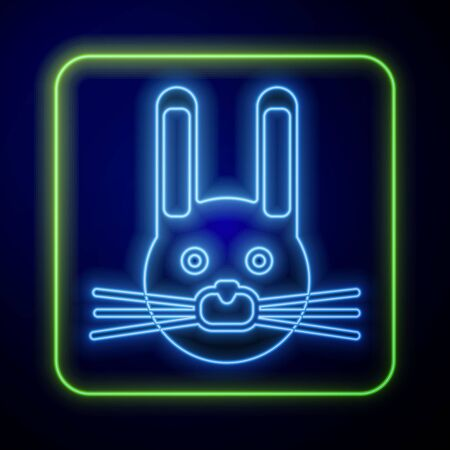 Glowing neon Easter rabbit icon isolated on blue background. Easter Bunny. Vector Illustration Çizim