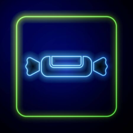 Glowing neon Candy icon isolated on blue background. Vector Illustration Ilustracja