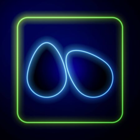 Glowing neon Easter eggs icon isolated on blue background. Happy Easter. Vector Illustration Çizim