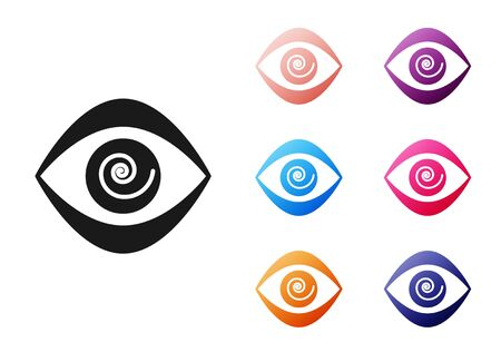 Black Hypnosis icon isolated on white background. Human eye with spiral hypnotic iris. Set icons colorful. Vector Illustration Vektorové ilustrace
