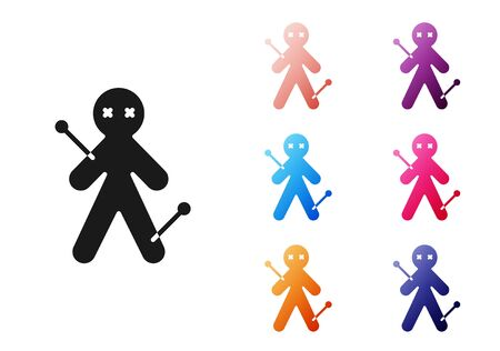 Black Voodoo doll icon isolated on white background. Set icons colorful. Vector Illustration