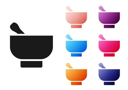 Black Magic mortar and pestle icon isolated on white background. Set icons colorful. Vector Illustration