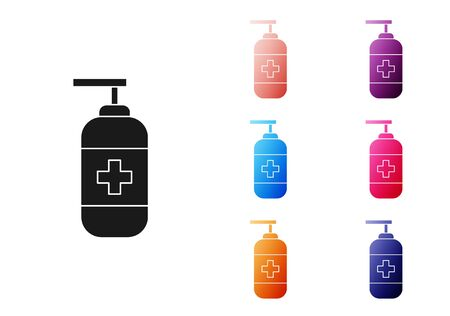 Black Bottle of liquid antibacterial soap with dispenser icon isolated on white background. Antiseptic. Disinfection, hygiene, skin care. Set icons colorful. Vector Illustration Ilustracja