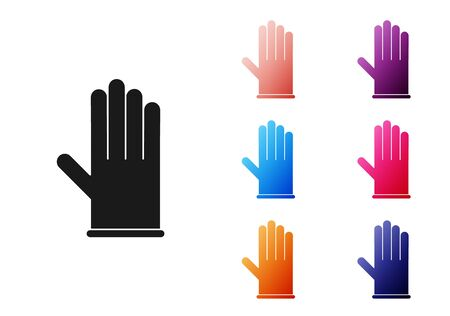 Black Medical rubber gloves icon isolated on white background. Protective rubber gloves. Set icons colorful. Vector Illustration