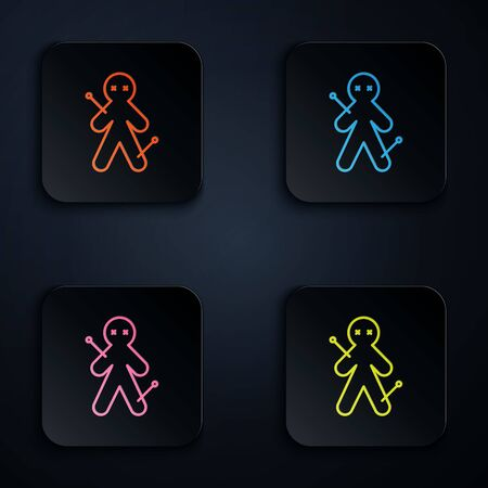 Color neon line Voodoo doll icon isolated on black background. Set icons in square buttons. Vector Illustration
