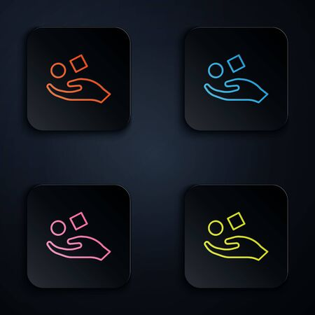 Color neon line Cube levitating above hand icon isolated on black background. Levitation symbol. Set icons in square buttons. Vector Illustration Ilustracja