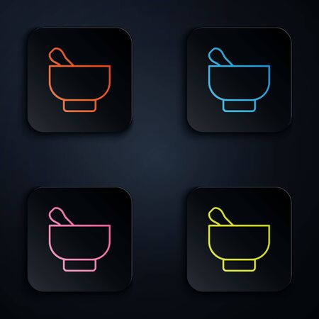 Color neon line Magic mortar and pestle icon isolated on black background. Set icons in square buttons. Vector Illustration Çizim