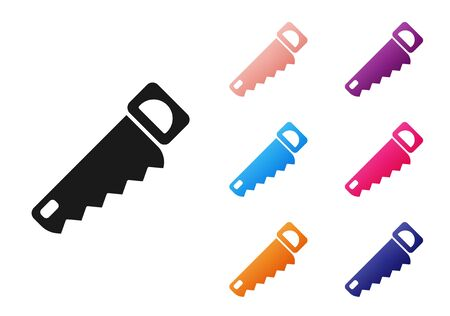 Black Hand saw icon isolated on white background. Set icons colorful. Vector Illustration