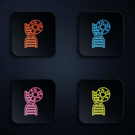 Color neon line DNA symbol and virus icon isolated on black background. Set icons in square buttons. Vector Illustration