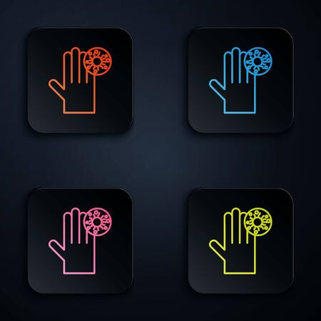 Color neon line Hand with virus icon isolated on black background. Corona virus 2019-nCoV. Bacteria and germs, cell cancer, microbe, fungi. Set icons in square buttons. Vector Illustration