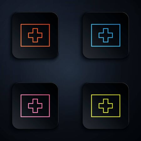 Color neon line First aid kit icon isolated on black background. Medical box with cross. Medical equipment for emergency. Healthcare concept. Set icons in square buttons. Vector Illustration Ilustracja