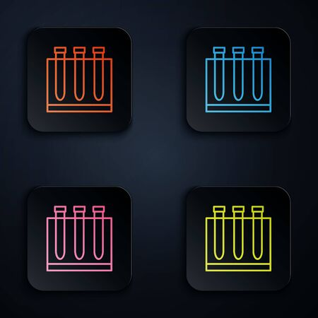 Color neon line Blood test and virus molecule coronavirus icon isolated on black background. Coronavirus, COVID-19. 2019-nCoV. Set icons in square buttons. Vector Illustration