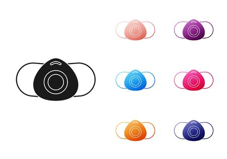 Black Medical protective mask icon isolated on white background. Set icons colorful. Vector Illustration