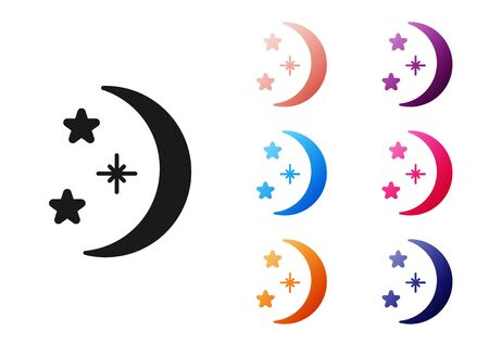 Black Moon and stars icon isolated on white background. Set icons colorful. Vector Illustration