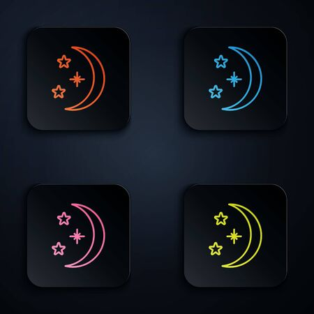 Color neon line Moon and stars icon isolated on black background. Set icons in square buttons. Vector Illustration 版權商用圖片 - 146381584