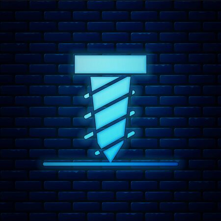 Glowing neon Rotating drill digging a hole in a ground icon isolated on brick wall background. Vector Illustration Ilustracja
