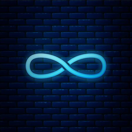 Glowing neon Infinity icon isolated on brick wall background. Vector Illustration
