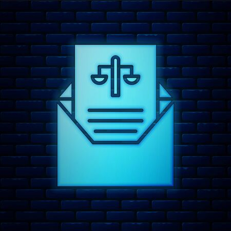 Glowing neon Subpoena icon isolated on brick wall background. The arrest warrant, police report, subpoena. Justice concept. Vector Illustration