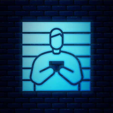 Glowing neon Suspect criminal icon isolated on brick wall background. The criminal in prison, suspected near the board. Vector Illustration