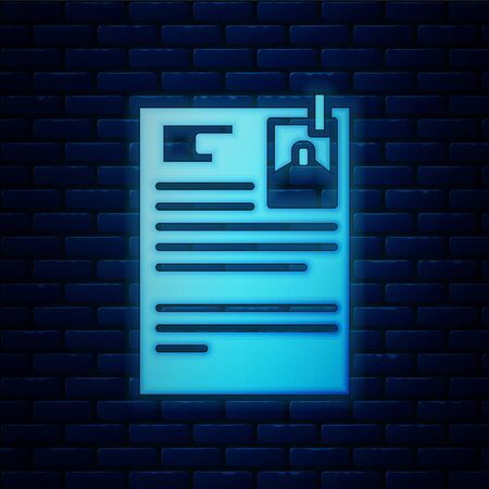 Glowing neon Lawsuit paper icon isolated on brick wall background. Vector Illustration