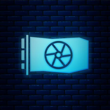 Glowing neon Video graphic card icon isolated on brick wall background.  Vector Illustration