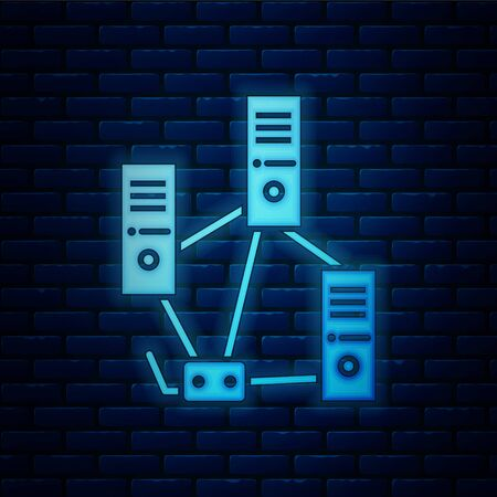 Glowing neon Computer network icon isolated on brick wall background. Laptop network. Internet connection. Vector Illustration Illustration