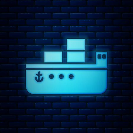 Glowing neon Oil tanker ship icon isolated on brick wall background. Vector Illustration Vecteurs
