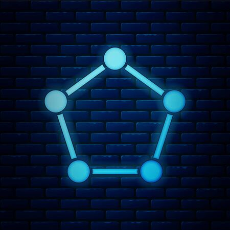 Glowing neon Geometric figure Pentagonal prism icon isolated on brick wall background. Abstract shape. Geometric ornament. Vector Illustration