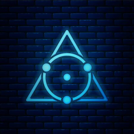 Glowing neon Triangle math icon isolated on brick wall background. Vector Illustration