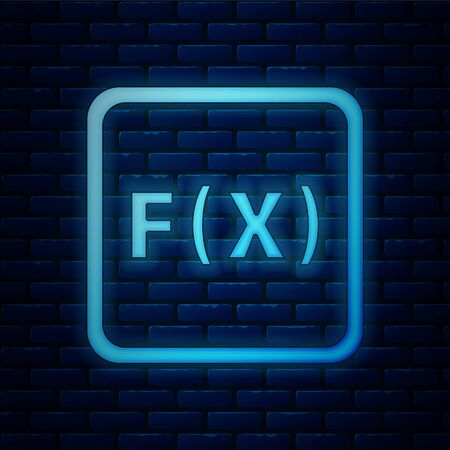 Glowing neon Function mathematical symbol icon isolated on brick wall background. Vector Illustration