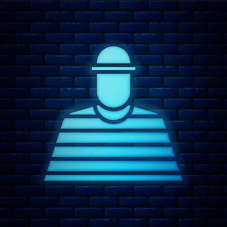 Glowing neon Prisoner icon isolated on brick wall background. Vector Illustration