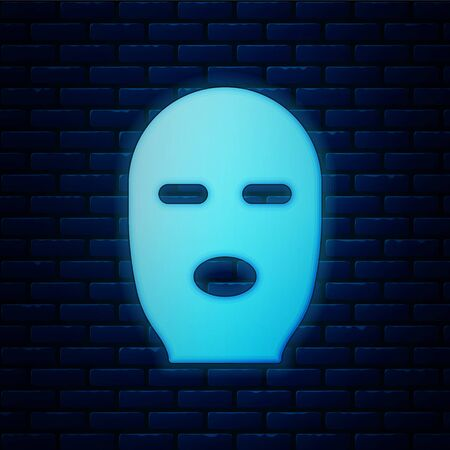 Glowing neon Thief mask icon isolated on brick wall background. Bandit mask, criminal man. Vector Illustration Stock Illustratie