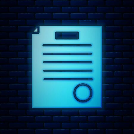 Glowing neon The arrest warrant icon isolated on brick wall background. Warrant, police report, subpoena. Justice concept. Vector Illustration
