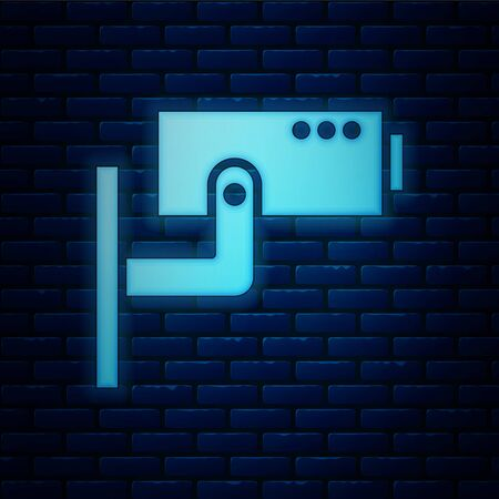 Glowing neon Security camera icon isolated on brick wall background. Vector Illustration