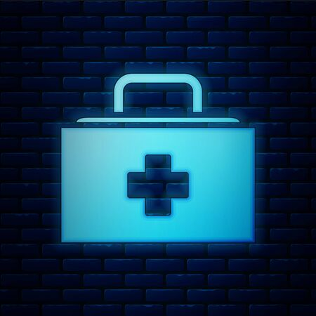 Glowing neon First aid kit icon isolated on brick wall background. Medical box with cross. Medical equipment for emergency. Healthcare concept.  Vector Illustration Ilustracja