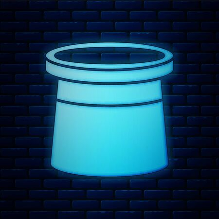 Glowing neon Magician hat icon isolated on brick wall background. Magic trick. Mystery entertainment concept. Vector Illustration Иллюстрация