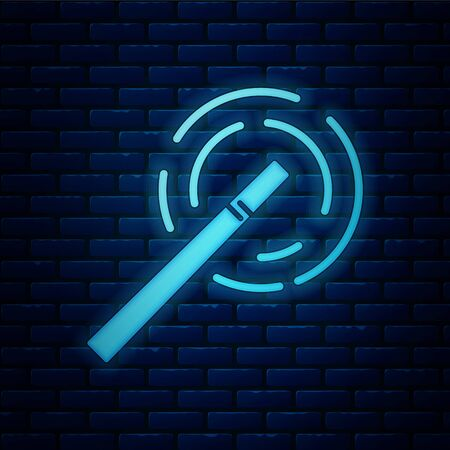 Glowing neon Magic wand icon isolated on brick wall background. Star shape magic accessory. Magical power. Vector Illustration