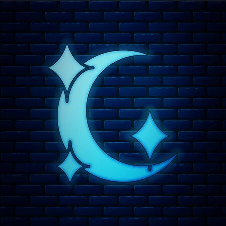 Glowing neon Moon and stars icon isolated on brick wall background. Vector Illustration