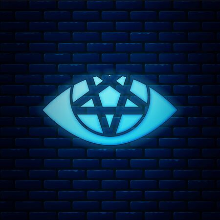 Glowing neon Pentagram icon isolated on brick wall background. Magic occult star symbol. Vector Illustration