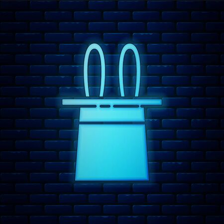 Glowing neon Magician hat and rabbit ears icon isolated on brick wall background. Magic trick. Mystery entertainment concept. Vector Illustration