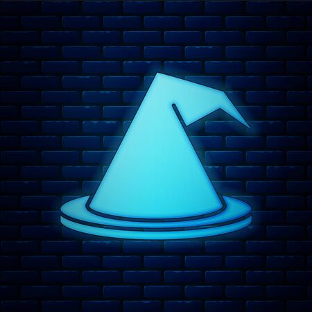 Glowing neon Witch hat icon isolated on brick wall background. Happy Halloween party. Vector Illustration Иллюстрация