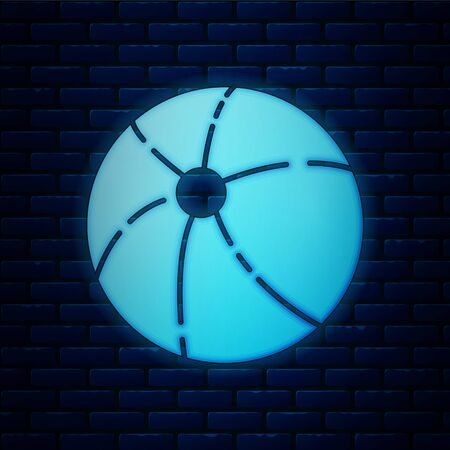 Glowing neon Beach ball icon isolated on brick wall background. Vector Illustration Illustration