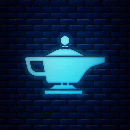 Glowing neon Magic lamp or Aladdin lamp icon isolated on brick wall background. Spiritual lamp for wish. Vector Illustration