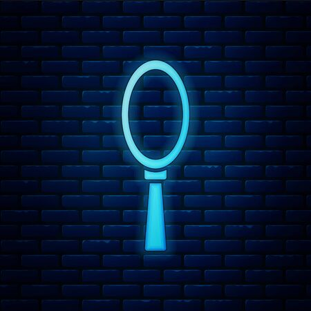 Glowing neon Magic hand mirror icon isolated on brick wall background. Vector Illustration