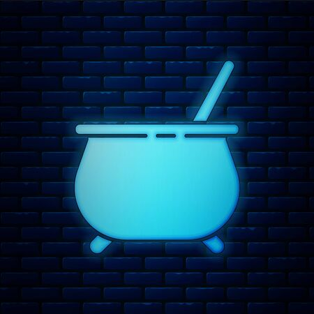 Glowing neon Witch cauldron icon isolated on brick wall background. Happy Halloween party. Vector Illustration Иллюстрация