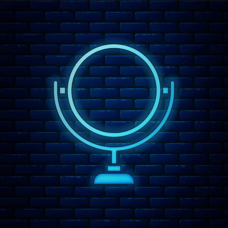 Glowing neon Round makeup mirror icon isolated on brick wall background. 8 March. International Happy Women Day. Vector Illustration 向量圖像