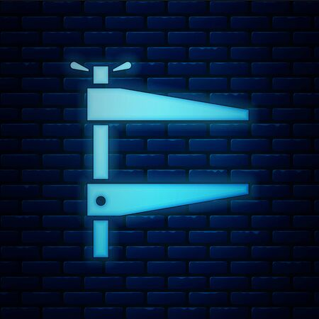 Glowing neon Clamp tool icon isolated on brick wall background. Locksmith tool. Vector Illustration